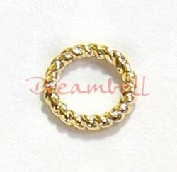 10x Vermeil 14K Gold plated over  925 Sterling Silver TWISTED Closed Soldered Jump Rings Wire 6mm