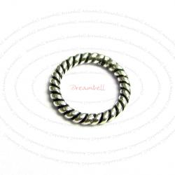20x Bali STERLING SILVER Bead 1mm Wire Twist Jump Ring 7mm