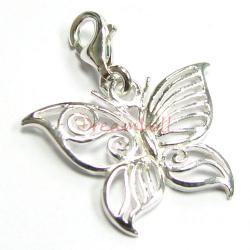 Sterling silver FILIGREE Butterfly Dangle Charm Pendant for European Style  Clip on Charm