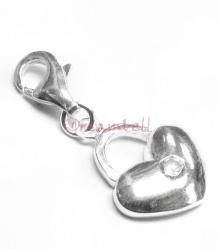 STERLING SILVER CZ Heart Dangle CHARM Pendant for European Style  Clip on Charm