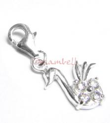 STERLING SILVER CZ SWAN Dangle CHARM Pendant for European Style  Clip on Charm