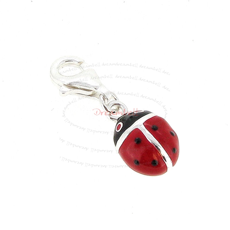 STERLING SILVER Lady Bug Ladybird  Enamel Dangle CHARM Pendant for European Style  Clip on Charm