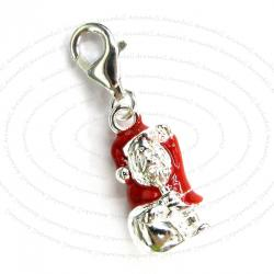 STERLING SILVER Christmas Santa Claus Dangle CHARM Pendant for European Style  Clip on Charm