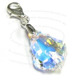 STERLING SILVER Swarovski Crystal AB Baroque Pendant  Bead for European Clip on Charm w/ Loster Clasp