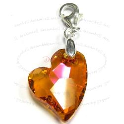STERLING SILVER Swarovski Crystal Astral Pink Devoted 2 U Heart Pendant Charm Bead for European Style  Clip on Charm