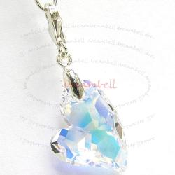 STERLING SILVER Swarovski Crystal AB Devoted 2 U Heart Pendant Charm Bead for European Style  Clip on Charm