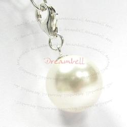 STERLING SILVER Swarovski White Pearl Pendant Charm Bead for European Style  Clip on Charm