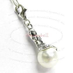 STERLING SILVER White Pearl Mermaid Pendant European Lobster Charm