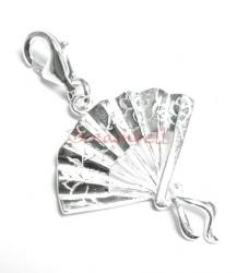 Sterling SILVER Chinese Style Fan Charm pendant dangle for European Style  Clip on Charm