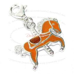 STERLING SILVER Rocking Horse  Enamel Dangle CHARM Pendant for European Style  Clip on Charm