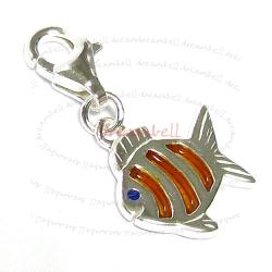 STERLING SILVER Tropical fish Goldfish  Enamel Dangle CHARM Pendant for European Style  Clip on Charm