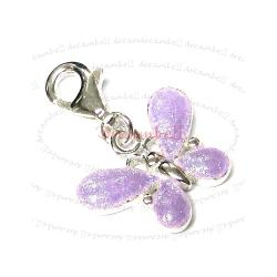 STERLING SILVER Butterfly  Enamel Dangle CHARM Pendant for European Style  Clip on Charm