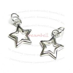 2x Sterling silver Twinkle Star dangle Pendant Charm 13mm