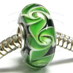 Sterling Silver Green Murano FLOWER Glass Bead for European Charm Bracelets