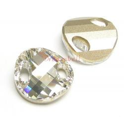 1 Swarovski Elements Crystal 3221 Twist Sew-on Clear Foiled 18mm