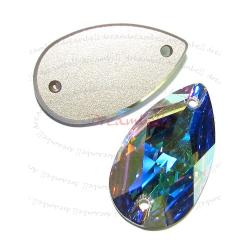 1x Swarovski Elements Crystal 3230 Pear Sew-on Stone Clear AB 28mm