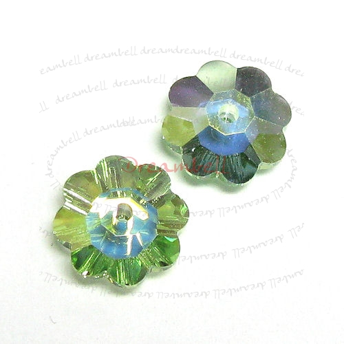 6x Swarovski Elements Crystal 3700 Margarita Beads Peridot AB Unfoiled 8mm