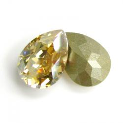 2x Swarovski Elements Olive Pear Stone Crystal 4320 Golden Shadow Foiled 14mm X10mm