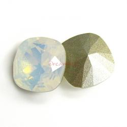 2x Swarovski Elements Crystal 12mm 4470 Cushion Square White Opal Foiled Stone