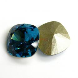 2x Swarovski Elements Crystal 12mm 4470 Cushion Square Indicolite Foiled Stone