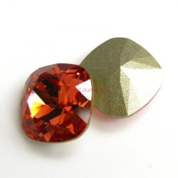 2x Swarovski Elements Crystal 12mm 4470 Cushion Square Padparadscha Foiled Stone