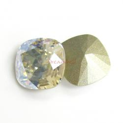 2x Swarovski Elements Crystal 12mm 4470 Cushion Square Moonlight Foiled Stone