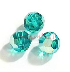 6x Swarovski Crystal Elements Round Bead 5000 Blue Zircon AB 8mm