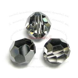 6x Swarovski Crystal Elements 5000 Round Faceted Bead Silver Night 8mm