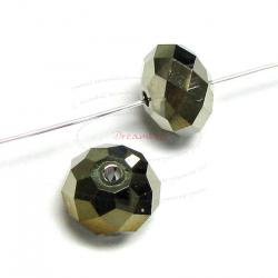 6x Swarovski Crystal Elements 5040 Briolette Bead Rondelle Spacer Metallic Light Gold AB 2x 6mm