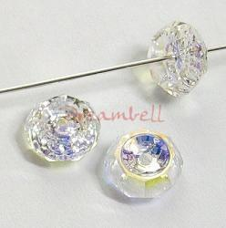 12 Swarovski Elements Beveled Rondelle Bead Crystal 5308 Clear AB 6mm