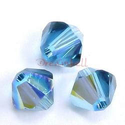 24 x Swarovski Elements Xilion Crystal 5328 Indicolite AB 6mm