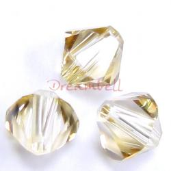 24x Swarovski Elements Xilion Crystal 5328 Golden Shadow 4mm