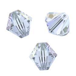 24x Swarovski Elements Xilion Crystal 5328 Clear AB 4mm