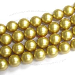 50x Swarovski Crystal Pearls 5810 Round Vintage Gold 6mm