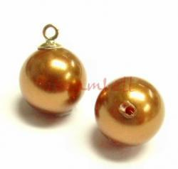 4x Swarovski crystal 5818 Copper Pearl ROUND half drilled 6mm