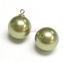 4x Swarovski crystal 5818 Light Green Pearl ROUND half drilled 6mm