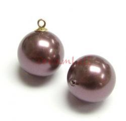 4x Swarovski crystal 5818 Burgundy Pearl ROUND half drilled 6mm