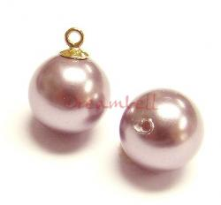 4x Swarovski crystal 5818 Powder Rose Pearl ROUND half drilled 6mm