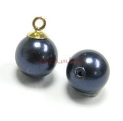 10x Swarovski crystal 5818 Night Blue Pearl ROUND half drilled 4mm