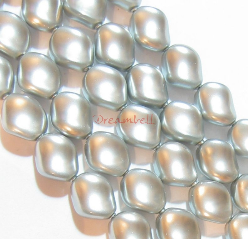 Swarovski Crystal Curve Pearl 5826 9x8mm Light Grey
