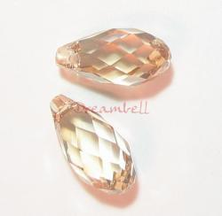 2x Swarovski Crystal Teardrop Briolette 6010 Golden Shadow 13mm