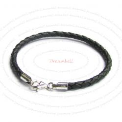 1x Sterling Silver Black Braided leather cord 3mm BRACELET for European bead charms  7.5""
