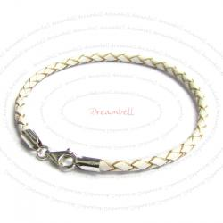 1x Sterling Silver White Bolo Braided leather 3mm BRACELET f/ European bead charms  7.5""