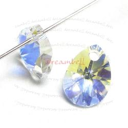 4x Swarovski Crystal 6128 Xilion Mini Pear Pendant Charm Clear AB 10mm