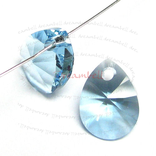 6x Swarovski Crystal 6128 Xilion Mini Pear Pendant Charm Aquamarine 8mm