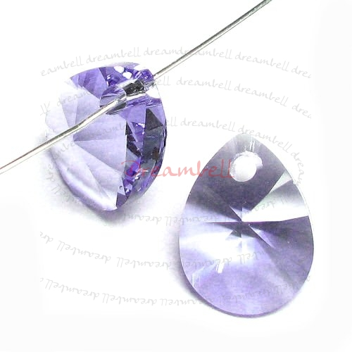 6x Swarovski Crystal 6128 Xilion Mini Pear Pendant Charm Tanzanite 8mm
