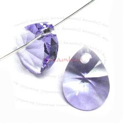 4x Swarovski Crystal 6128 Xilion Mini Pear Pendant Charm Tanzanite 10mm