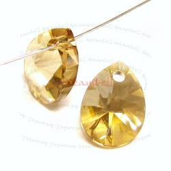 4x Swarovski Crystal 6128 Xilion Mini Pear Pendant Charm Golden Shadow 10mm