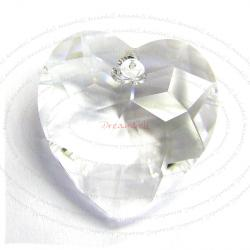 1x SWAROVSKI 6215 CLEAR  HEART CRYSTAL PENDANT 18mm