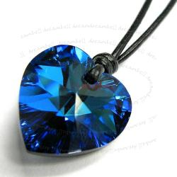 Bermuda Blue Heart Charm Pendant 18mm Black Leather 1mm Necklace Adjustable Using Swarovski Elements Crystal